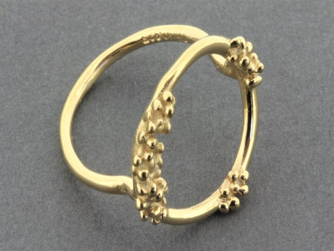 Beaded circle ring - gold on silver