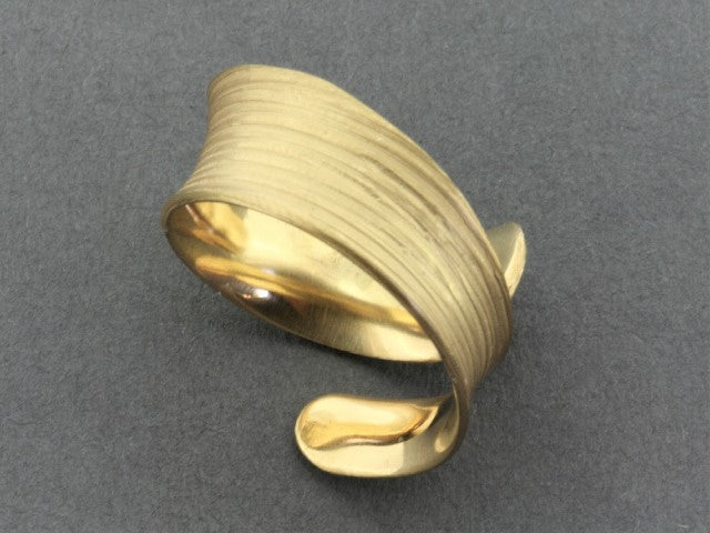 Concave spiral band - gold over silver