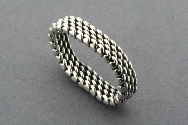 4 Row Sterling Silver Woven Mesh Ring