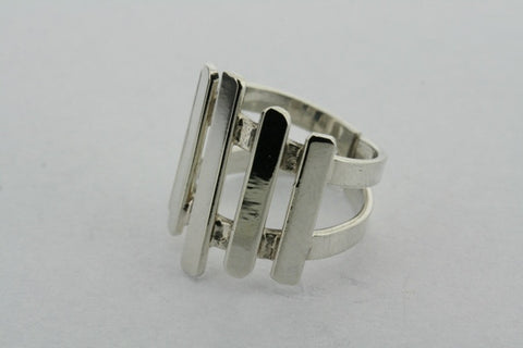 5 Bar Sterling Silver Deco Ring