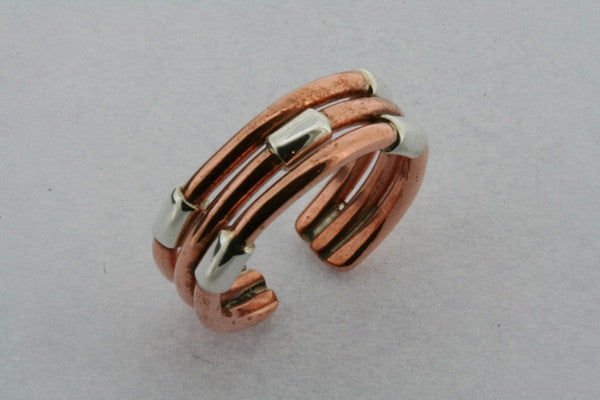 Three Strand Copper & Sterling Silver Ring