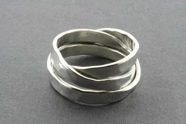 3 Strand hammered Sterling Silver Knot Ring