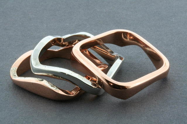 2 Copper 1 Silver Curved Ring