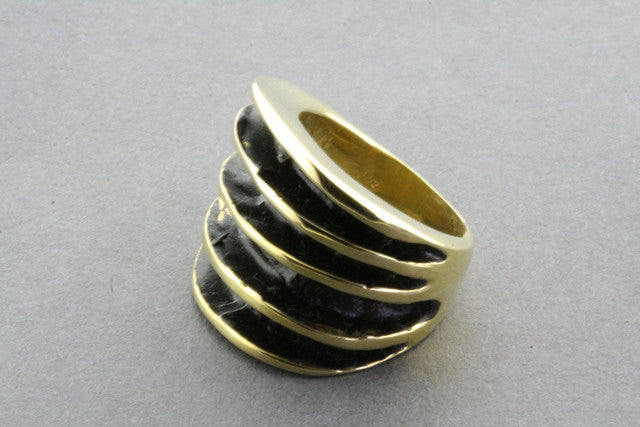 brass fan palm ring