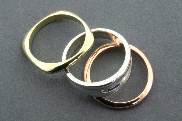 3 Wish Silver, Copper and Brass Ring