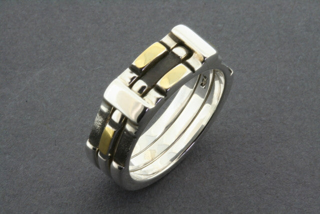 silver & gold chess ring