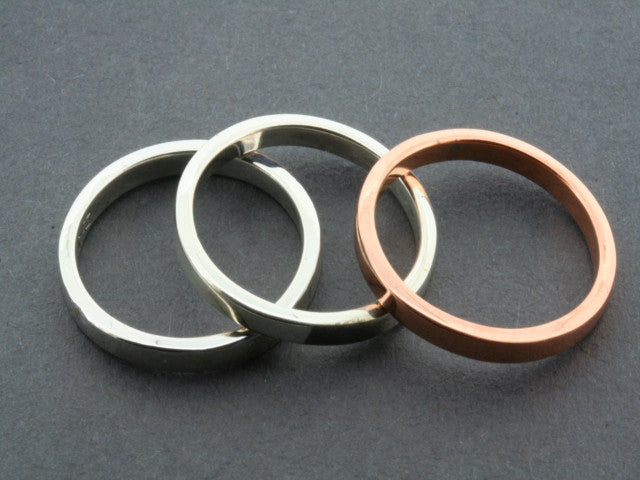 Polished Copper and Sterling Silver Stackable Rings