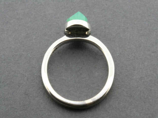 faceted chrysoprase stackable ring