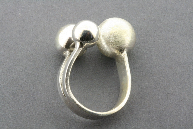 Brushed & Polished Sterling Silver Spheres Ring