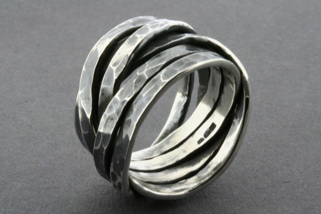 flat battered knot ring - oxidized