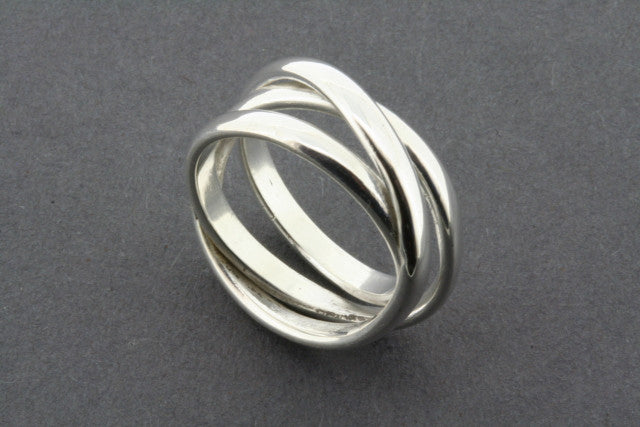 3 Bands Curved Narrow Sterling Silver Knot Ring