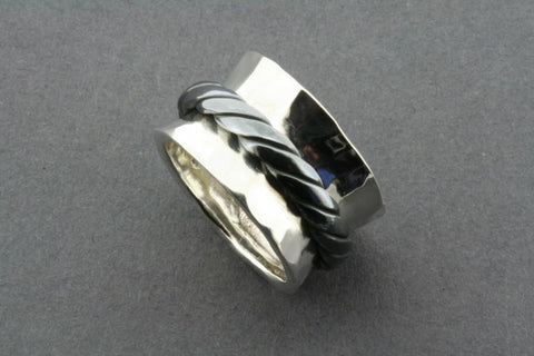battered concave oxidized rope spinner ring