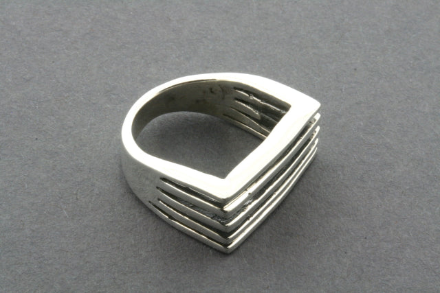 Rectangular 5 Section Sterling Silver Signet ring - Size 7