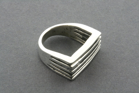 5 section rec signet ring - 7
