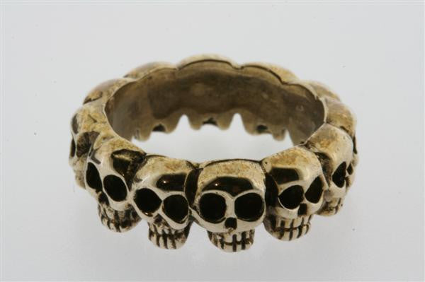 multi skull ring - bronze