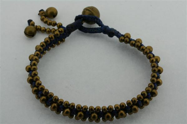 narrow 3 bell bead bracelet - navy