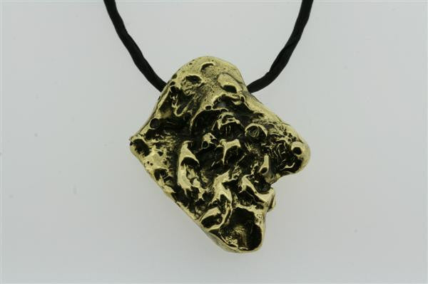 nugget pendant  - brass on black silk