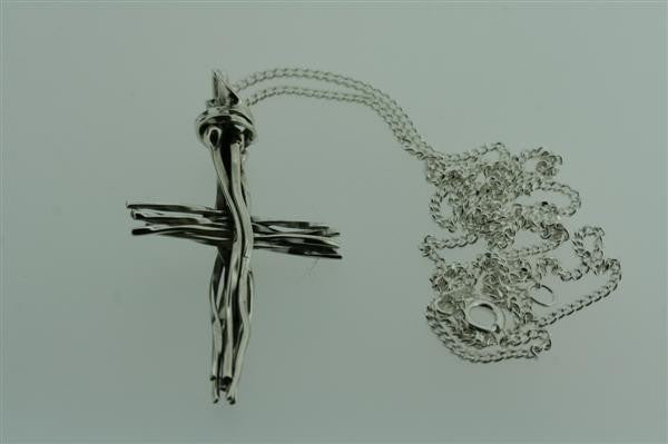 organic cross pendant on 55cm link chain
