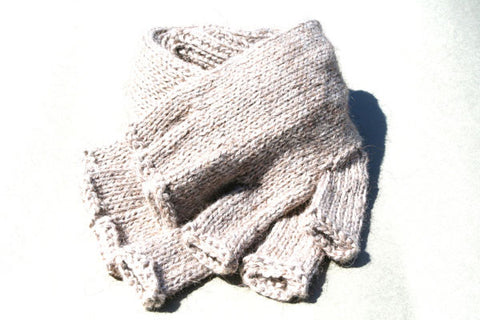 Alpaca Hand Knitted Long Hobo Gloves in Oatmeal