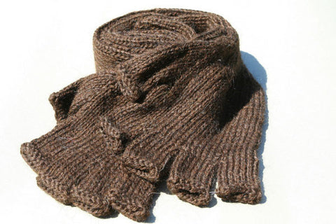 Alpaca Hand Knitted Long Hobo Gloves in Chocolate
