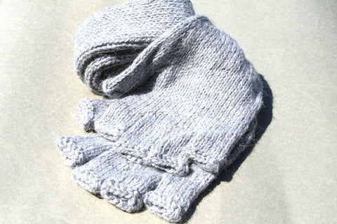 Alpaca Hand Knitted Long Hobo Gloves in Grey