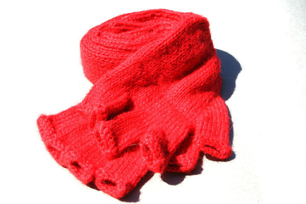 Alpaca Hand Knitted Long Hobo Gloves in Coral