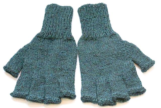 Alpaca Hand Knitted Hobo Gloves in Licorice