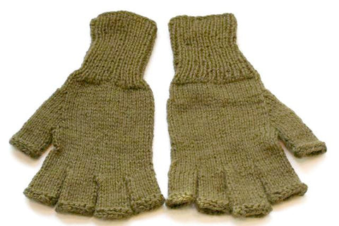 Alpaca Hand Knitted Hobo Gloves in Khaki