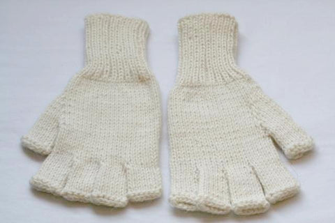Alpaca Hand Knitted Hobo Gloves in Ivory