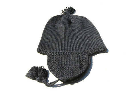 Alpaca Hand Knitted Riding Beanie in Black