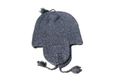 Alpaca Hand Knitted Riding Beanie in Charcoal