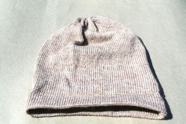 Alpaca Hand Knitted Beanie in Oatmeal