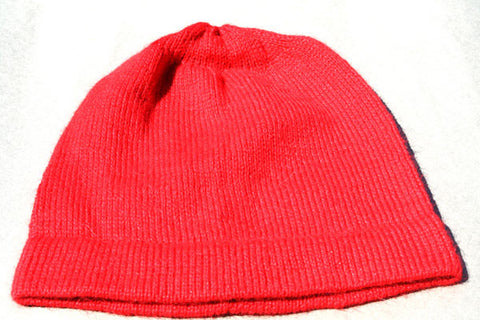 Alpaca Hand Knitted Beanie in Coral