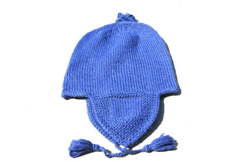 Alpaca Hand Knitted Riding Beanie in Cobalt