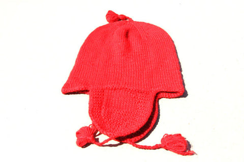 Alpaca Hand Knitted Riding Beanie in Coral