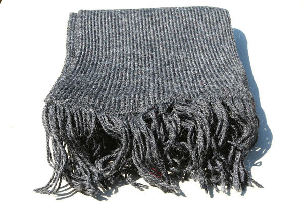 alpaca knitted scarf - charcoal
