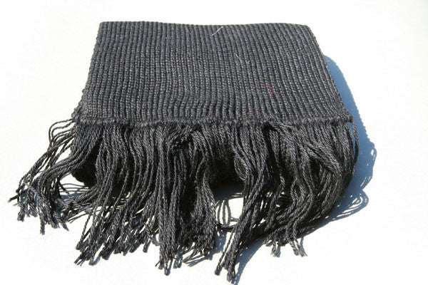 Alpaca Hand Knitted Scarf in Black