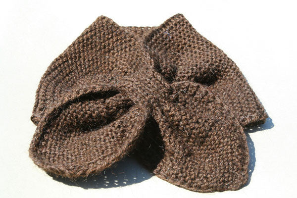 Alpaca Hand Knitted Pull Through Scarf in Chocolate