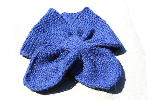 Alpaca Hand Knitted Pull Through Scarf in Cobalt
