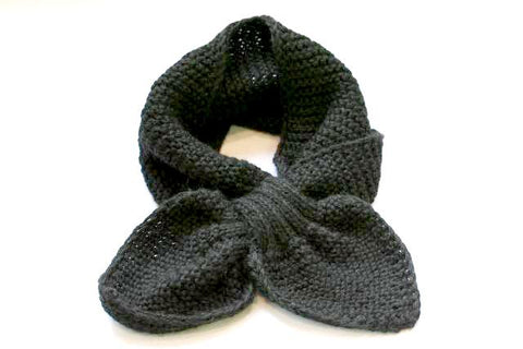 Alpaca Hand Knitted Pull Through Scarf in Black
