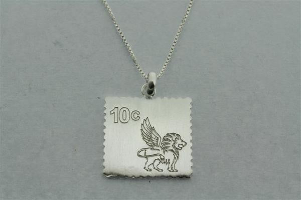 postage stamp necklace