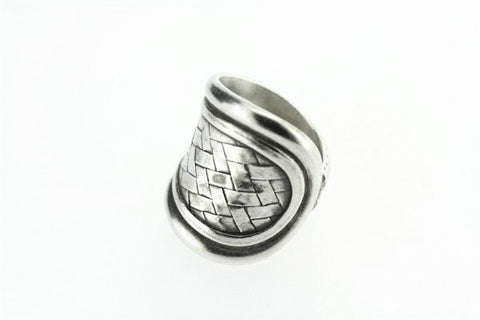 basket weave saddle ring - pure silver