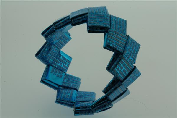 recycled bracelet - small - blue text