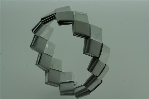 recycled bracelet - small - white/silver
