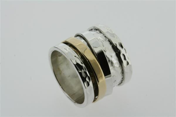 silver/brass battered spinner ring