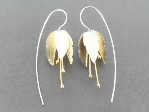 silver & gold plated flower earring