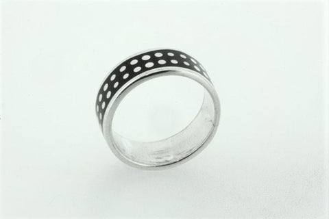 black enamel spotted band - sterling silver