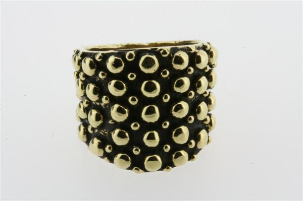 small & large beaded ring  - brass