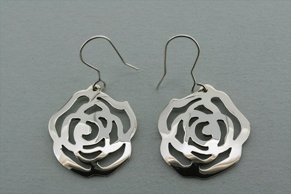 small flat rose earring