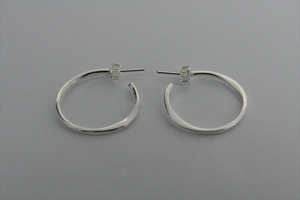 small flattened hoop earrings